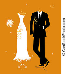 Wedding groom suit and bride's dress for your design