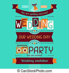 Wedding invitation card template in retro style.