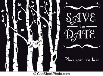 wedding invitation with birch trees