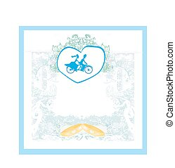 wedding invitation with bride and groom riding tandem bicycle