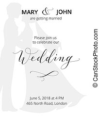 Wedding invitation with bride and groom silhouettes and hand written custom calligraphy