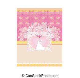 Wedding invitation with bride and groom. Vector format