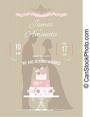 Wedding invitation with wedding cake