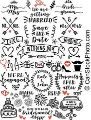 wedding overlays, vector set