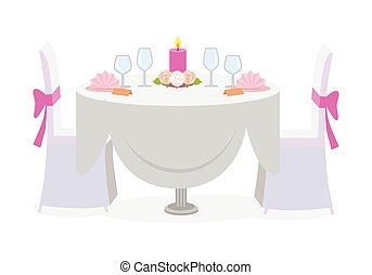 Wedding table decor. Served wedding table with luxury plates, candles and glasses. Holiday marriage table and chairs. Celebration of wedding concept. Luxury interior. Vector illustration in flat style