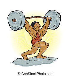 A strong prehistoric man lifting stone weights