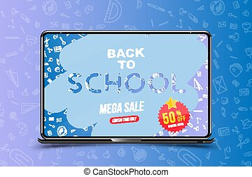 Welcome Back to school. Banner with set of doodle icons and mega sale 50 and sticker in realistic laptop. Concept for education. Vector illustration EPS10