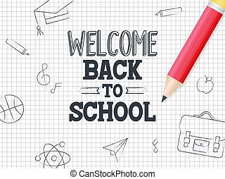 Welcome Back to school poster template with grid background