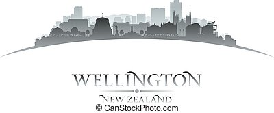 Wellington New Zealand city skyline silhouette white background