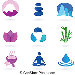 Vector set of 9 graphic design elements inspired by water, nature, soul and meditation. Perfect use for websites, magazines and wellness brochures.