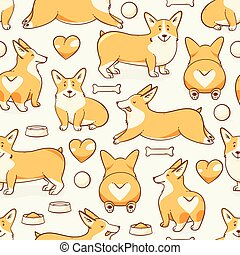 Welsh corgi dog, vector seamless pattern with a heart