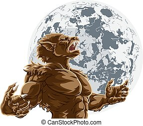 Werewolf scary wolf man horror monster howling against a full moon in the background