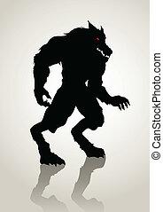Silhouette illustration of a werewolf