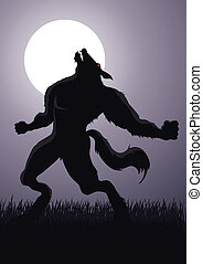 Stock vector of a werewolf at a full moon