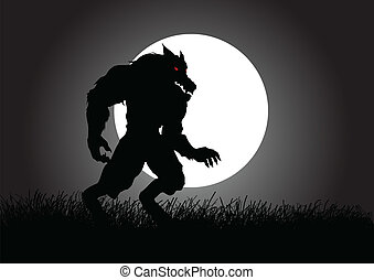 Stock vector of a werewolf lurking in the dark during full moon