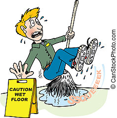 A janitor mopping up water slips and falls