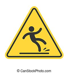 Wet Floor sign, yellow triangle with falling man in modern rounded style. Isolated vector illustration.
