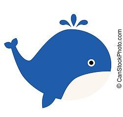 Whale flat illustration
