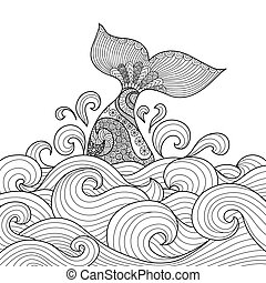 Whale tail in the wavy ocean line art design for coloring book fro adult, sign, logo, T-shirt design, card and design elelment