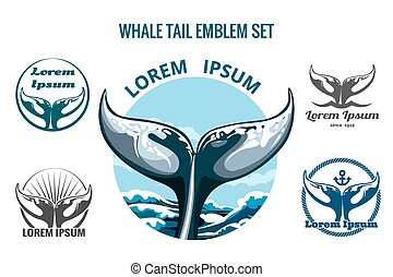 Whale tail logo or emblem set. Only free font used. Isolated on white background.