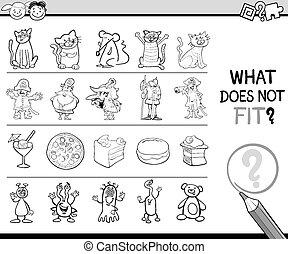 Cartoon Illustration of Finding Improper Item Educational Game for Preschool Children