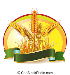 Wheat ears with ribbon
