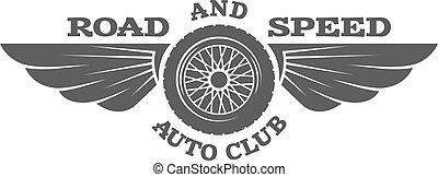 Wheel and wings, vintage car emblem, badge.