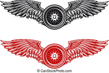 Wheel with wings for tattoo or mascot design