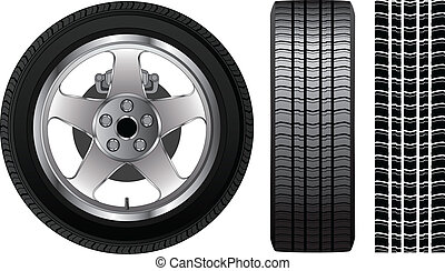 Illustration of a wheel with tire and alloy rim showing rotor and brakes. Also includes front view of tire and tire track.