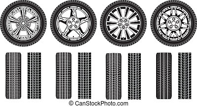 Illustration of four tires, alloy rims and tire tracks in a black and white graphic style.