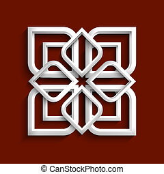 White 3d ornament in arabic style - variation 2.Vector EPS10