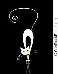 White cat with green eyes silhouette on black
