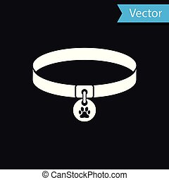 White Collar with name tag icon isolated on black background. Supplies for domestic animal. Dog or cat paw print. Cat and dog care. Pet chains. Vector Illustration