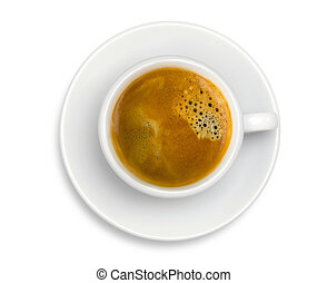 White cup of coffee espresso isolated on the white background