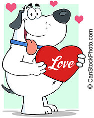 White Dog Holding Up A Red Heart