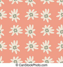 White doodle flowers ornament seamless simple botanic pattern. Pink background.