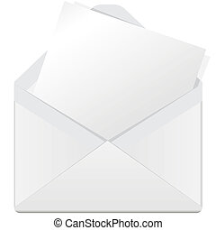 illustration, white open envelope on a white background