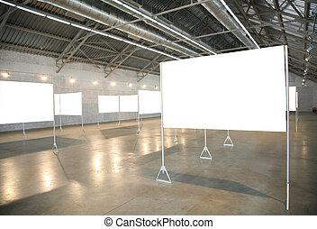 white frames in hall 2