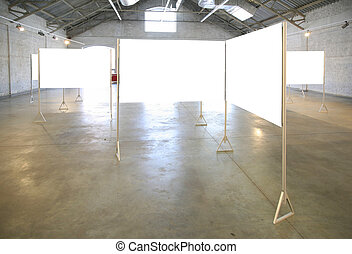 white frames in hall