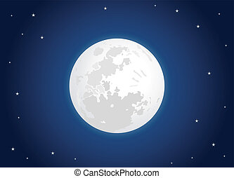 white moon with star sky