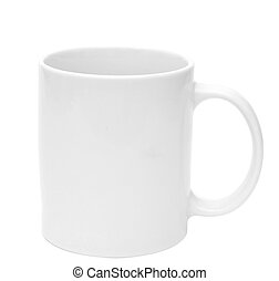 White mug empty blank for coffee on white background