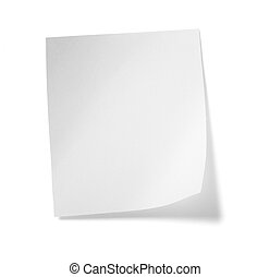 close up of a white note paper on white background with clipping path