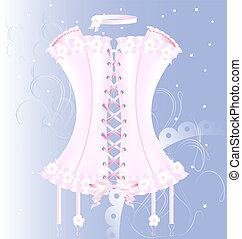 white-pink corset with pearl and tape