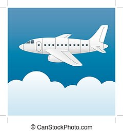 White plane on a background of blue sky and white clouds. Cartoon style. Vector