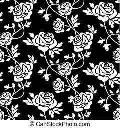White roses at black