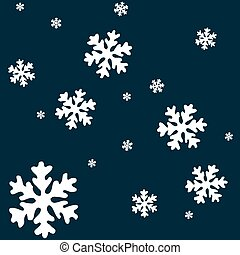 white snow flakes over blue background, abstract vector art illustration