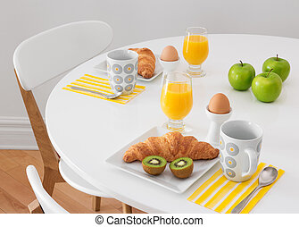 White table with healthy breakfast