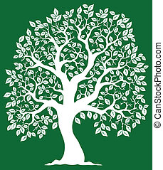 White tree on green background 2