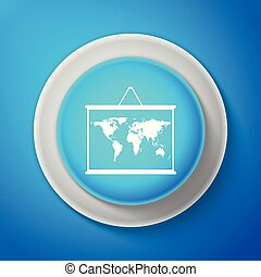 White World map on a school blackboard icon isolated on blue background. Drawing of map on chalkboard. Circle blue button with white line. Vector Illustration