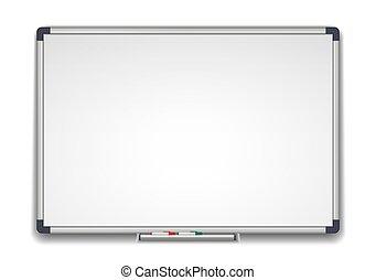 Whiteboard, marker white school board realistic vector